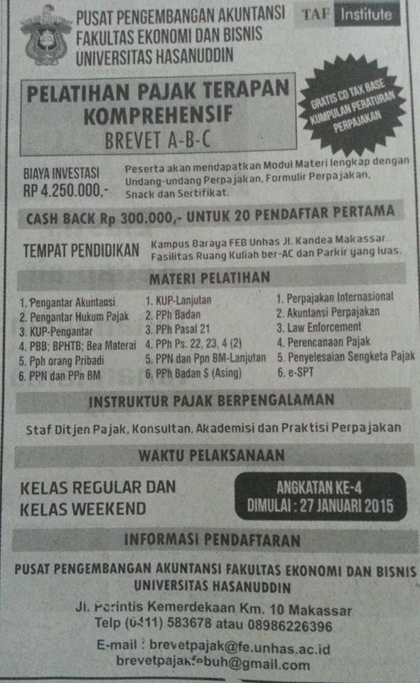 kursus brevet pajak A-B-C Makassar
